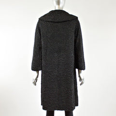 Black Persian Lamb Fur Coat - Size XS