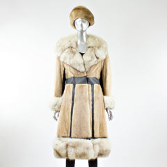 Azurine Fur with Fox Fur Trim Coat with FREE Hat - Size S