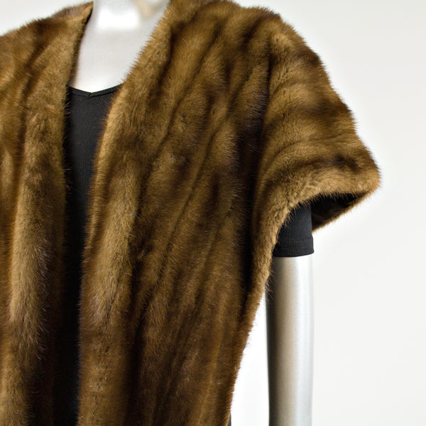 Dark Mahogany Mink Fur Stole - One Size Fits All