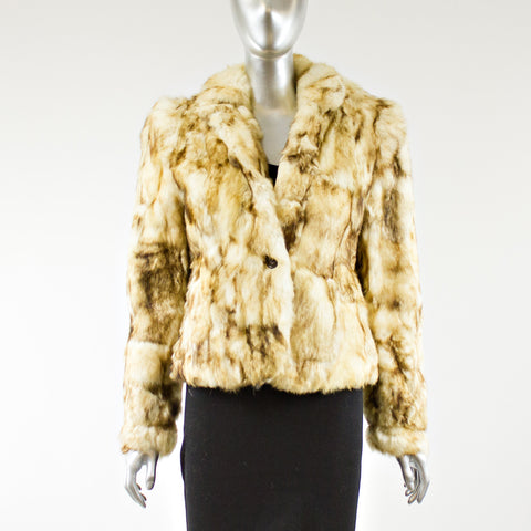 Frosted White Rabbit Fur Jacket - Size M