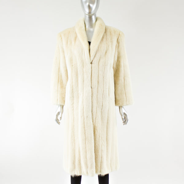 Pearl Mink Fur Coat with FREE Silk Scarf - Size S