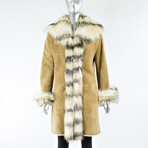 Light Brown Shearling Fur Coat with Raccoon Fur - Size S