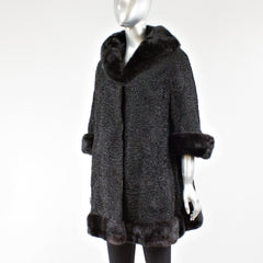 Black Persian Lamb Stroller with Mink Fur Collar - Size S