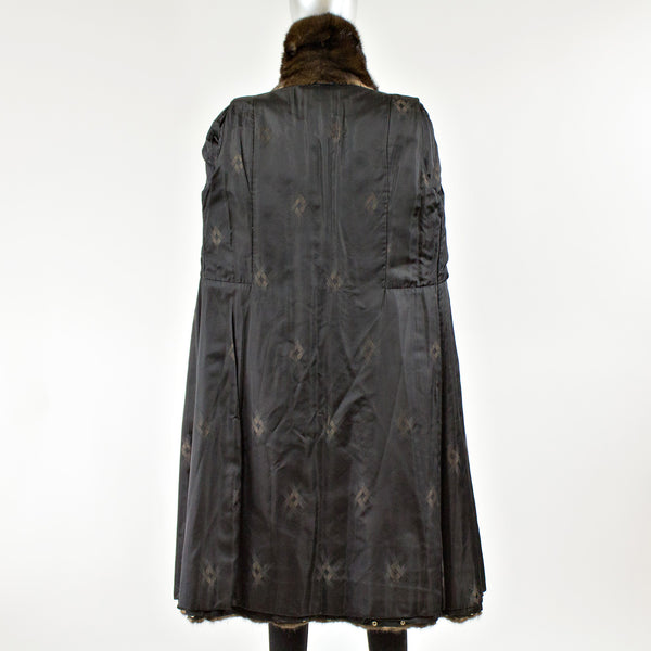 Mahogany Mink Fur Coat with Detachable Hem Trim - Size S