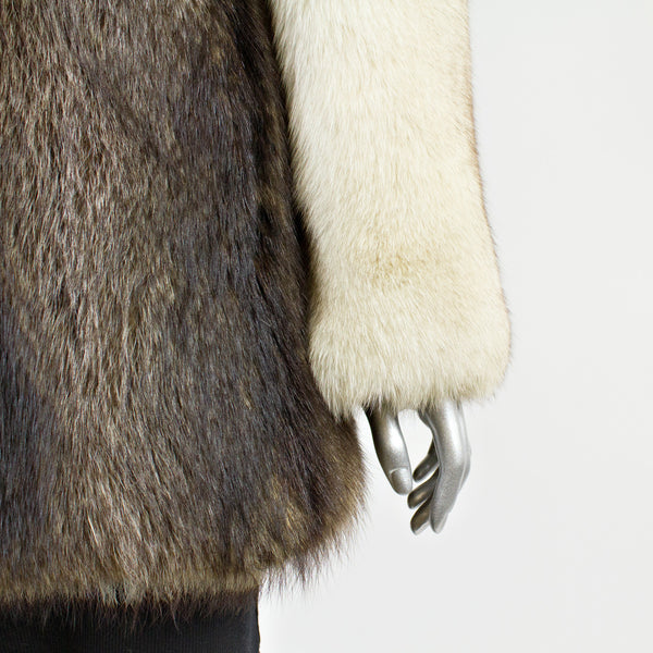 Silver Fox Fur Jacket with Blue Fox Fur Sleeves and Collar - Size S (Vintage Furs)