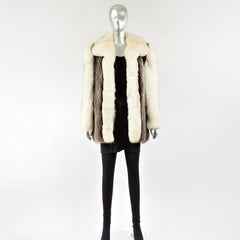 Silver Fox Fur Jacket with Blue Fox Fur Sleeves and Collar - Size S