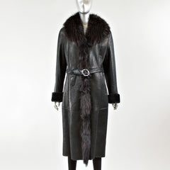 Black Napa Leather Coat with Raccoon Fur Collar - Size S/M