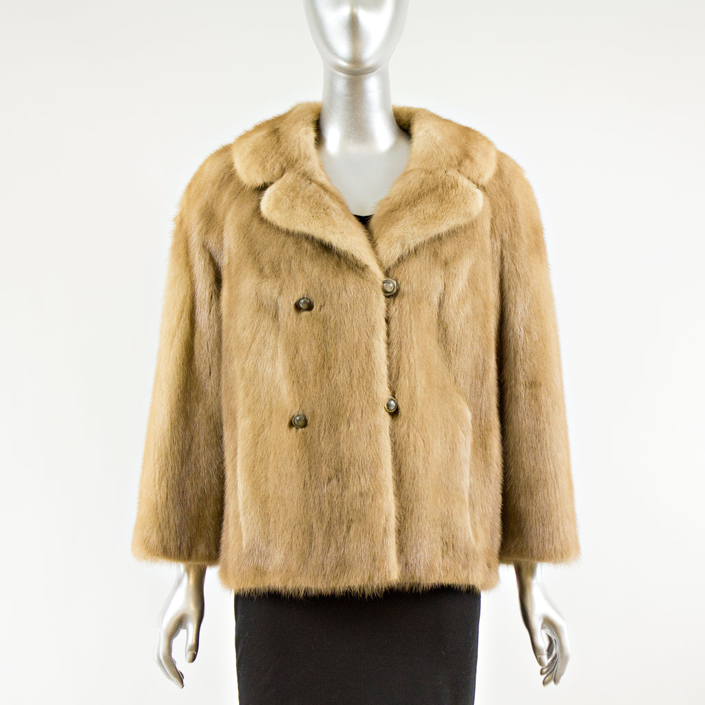 Autumn Haze Mink Fur Jacket FREE Fox Collar - Size S