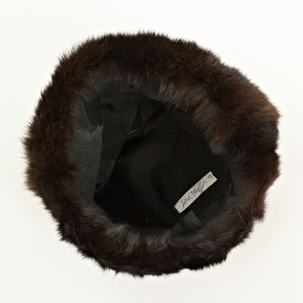 LORD TAYLOR Black Designed Fabric Jacket with Dark Mahogany Mink Collar FREE Hat - Size XS