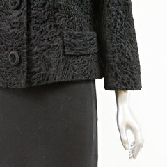Black Persian Lamb Fur Short Jacket with Mink Collar - Size S