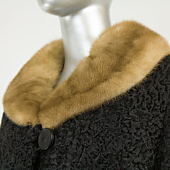 Black Persian Lamb 7/8 Coat Mink Collar - Size L