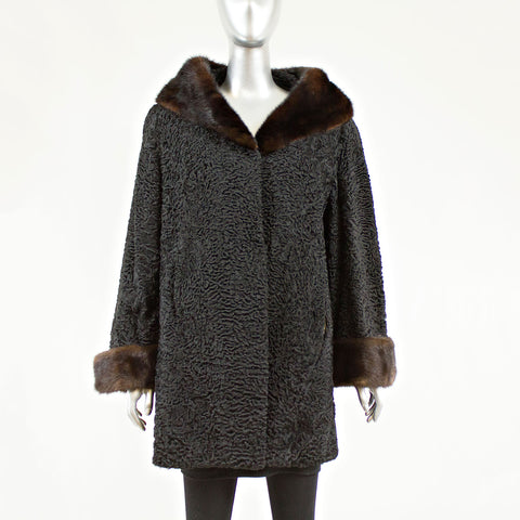 Black Persian Lamb 3/4 Coat Mink Collar and Cuff Size L