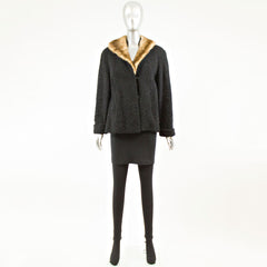 Black Persian Lamb  with Mink Collar - Size L