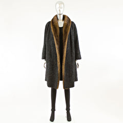 Black Persian Lamb Fur Coat with Mahogany Mink Tuxedo - Size S