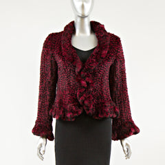 Black and Red Knitted Rex Fur Jacket with Ruffle Trim - Size S
