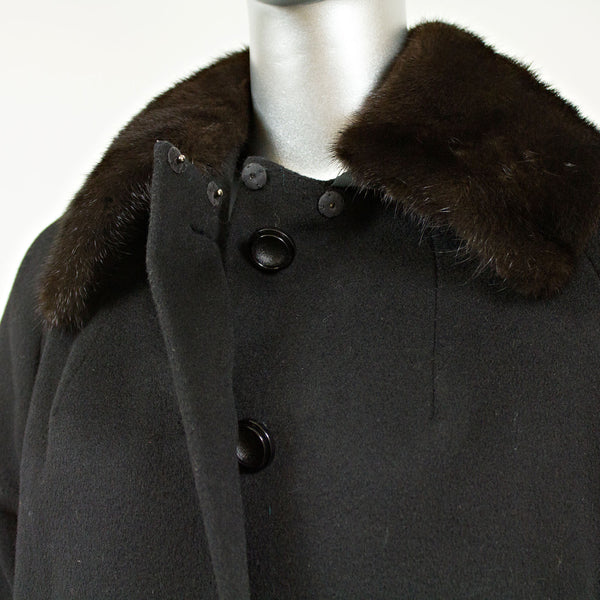 Black Wool Coat with Mink Collar - Size XS