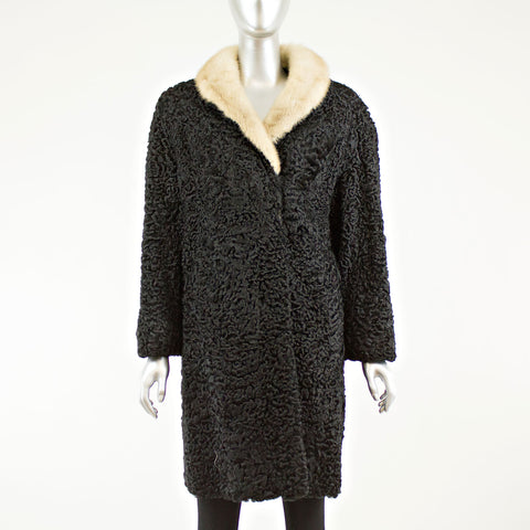 Black Persian Lamb Coat Cream Mink Collar - Size L