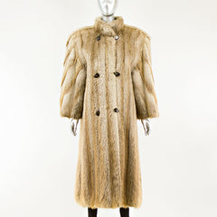 Blonde Long Hair Beaver Coat - Size L