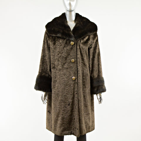 Brown Faux Coat - Size S