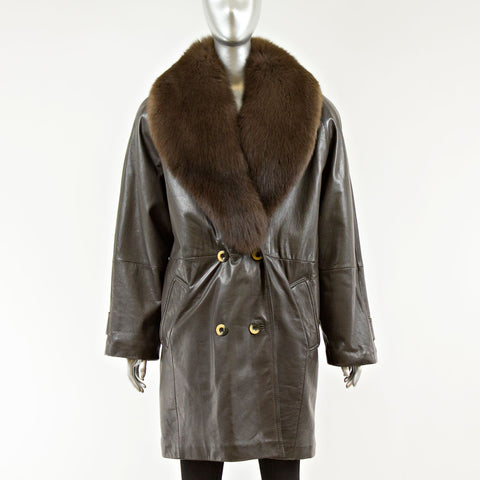 Brown Leather Jacket with Detachable Fox Shawl Collar - Size M