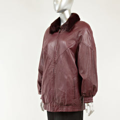 Burgundy Leather Reversible Bomber Jacket to Mink - Size S/M