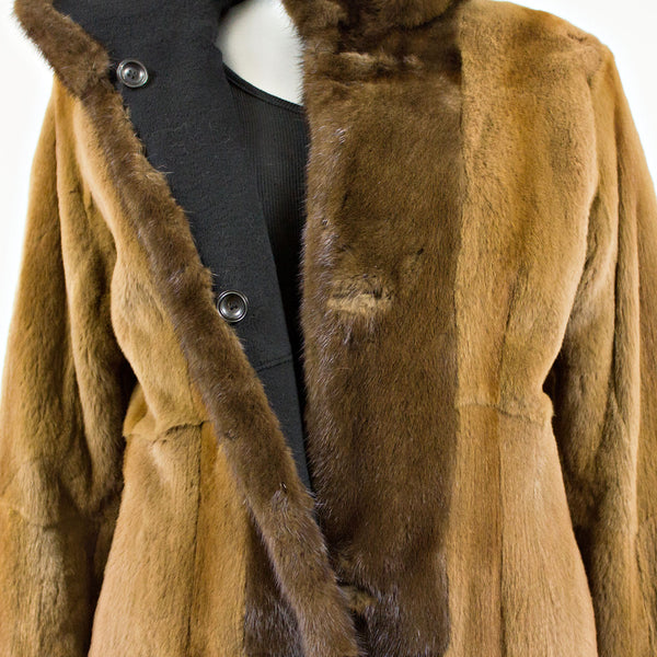 Black Cashmere Long Hair Mink Tuxedo Coat Reversible Plucked Skin on Skin Mink - Size S 38