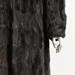 Dark Mahogany Section Mink Coat - Size XS