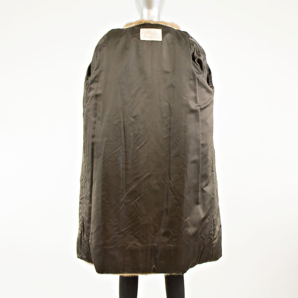 Sheared Beaver Coat with Mink Collar & Hem- Size L
