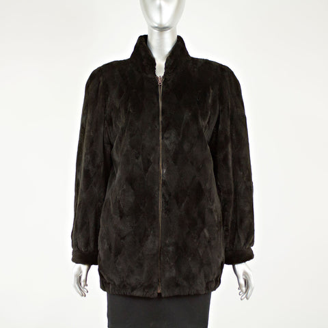 Dark Brown Sheared Mink Sections Jacket Rev to Bronze Size M