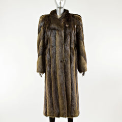 Long Hair Beaver Fur Coat - Size M