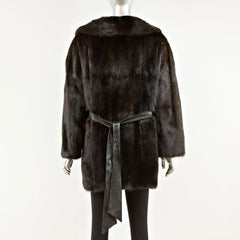 Mahogany Mink Fur Jacket with Leather Belt - Size S