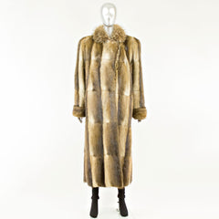 Muskrat Coat with Raccoon Collar - Size M