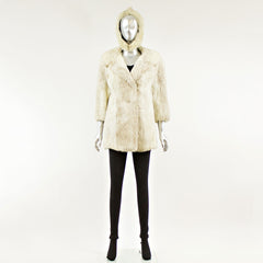 Natural Rabbit Fur Jacket with Hat - Size S