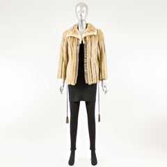 Pastel Mink Fur Jacket with Leather Insert - Size XS