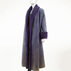Purple Long Shearling Coat