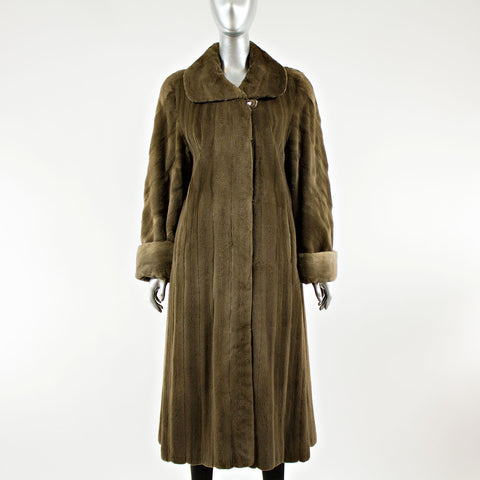 Sheared Mahogany Mink Fur Coat Reversible to Micro - Size S