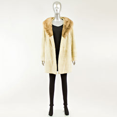 Sheared Tan Mink 3/4 Coat with Luneraine Mink Collar - Size S
