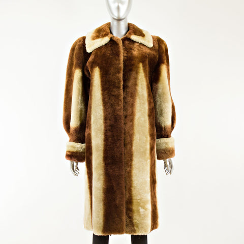 Striped Mouton Coat - Size M