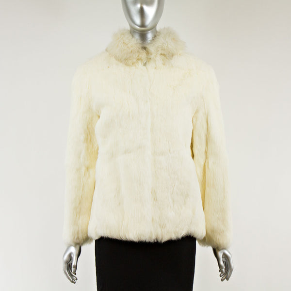 White Rabbit Fur Jacket with Fox Collar - Size S