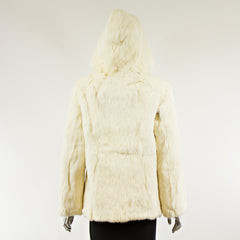 White Rabbit Fur Zipper Jacket with Hood - Size S