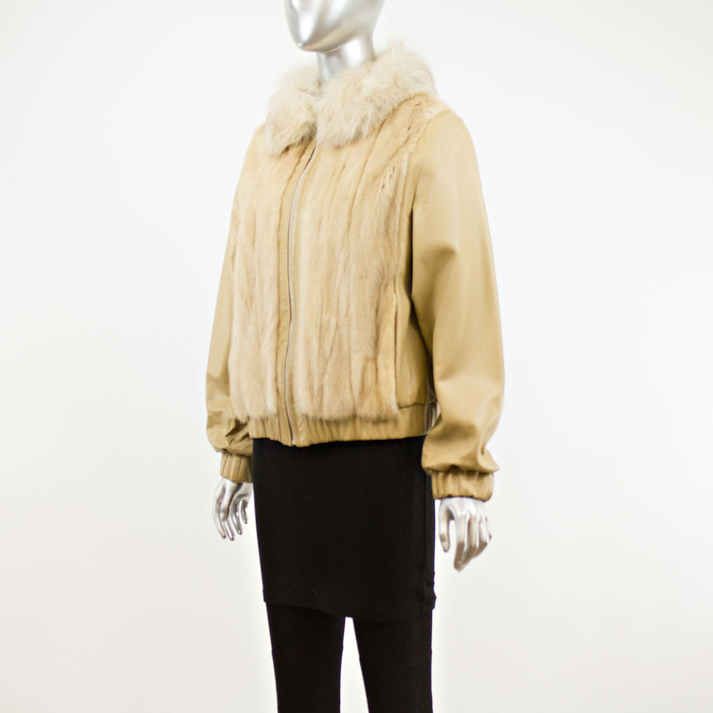 Autumn Haze Mink Jacket with Leather Sleeves- Size M (Vintage Furs)