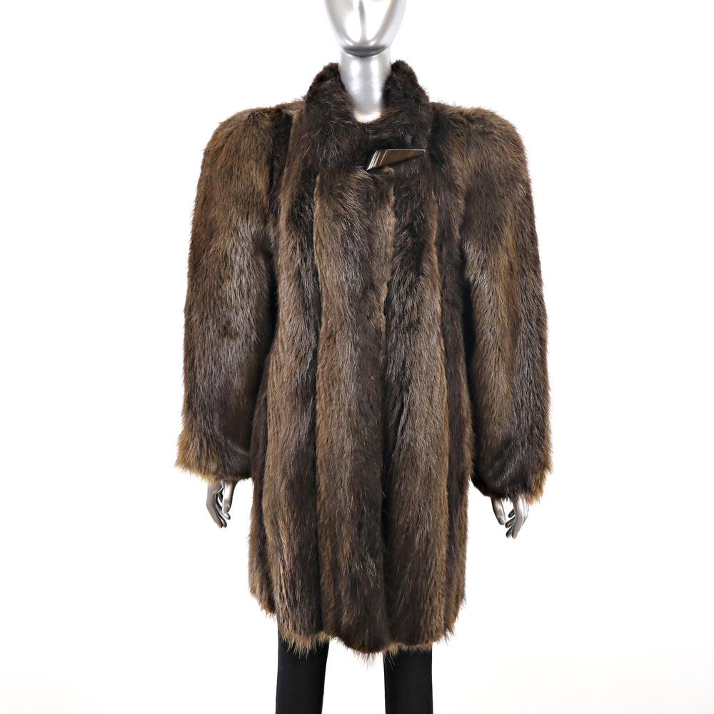 Long Hair Beaver Coat- Size M-L (Vintage Furs)