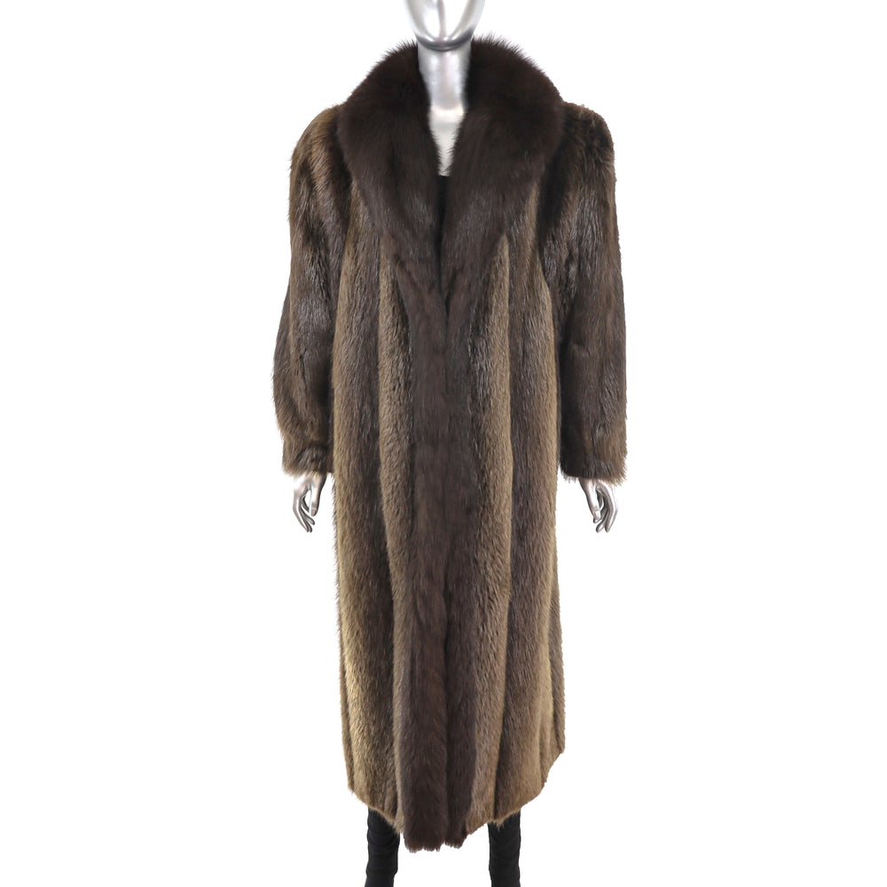 Beaver Coat with Fox Tuxedo- Size XL (Vintage Furs)