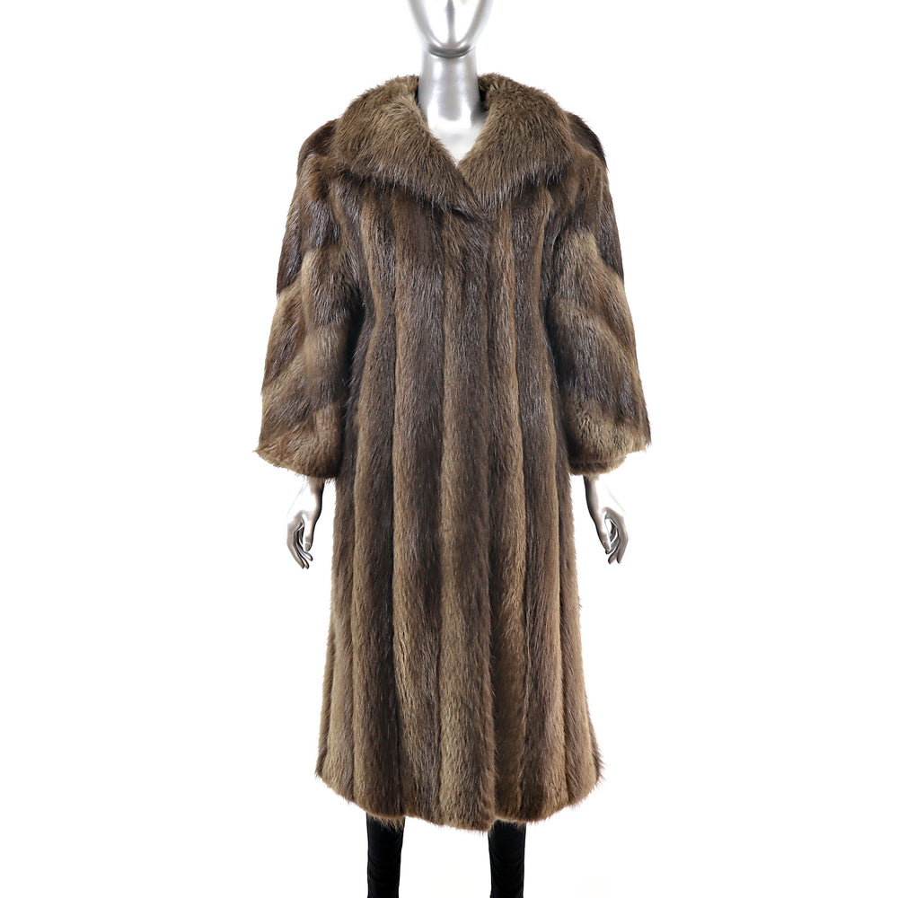 Long Hair Beaver Coat- Size M (Vintage Furs)