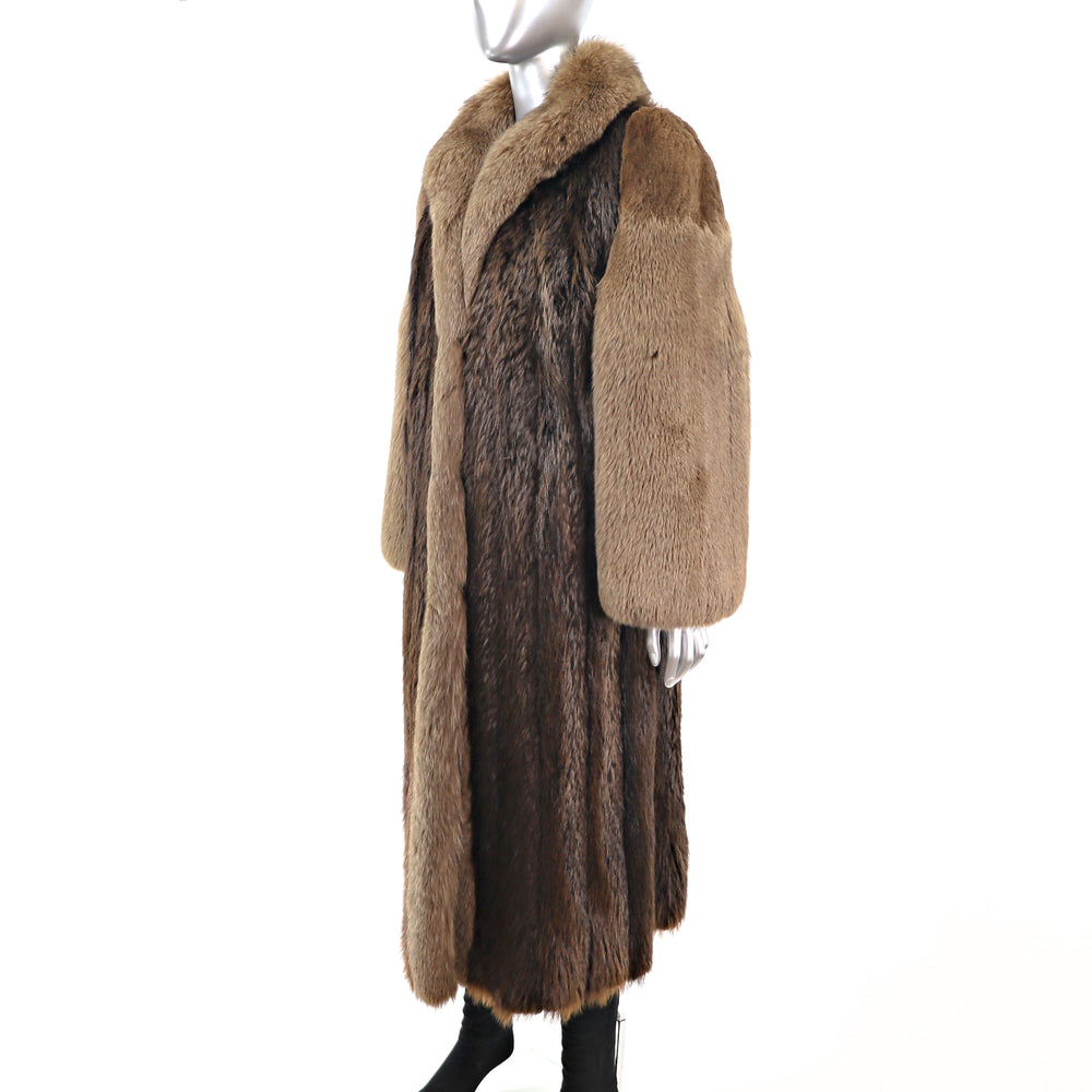 Long Hair Beaver Coat with Fox Tuxedo and Sleeves- Size S-M (Vintage Furs)