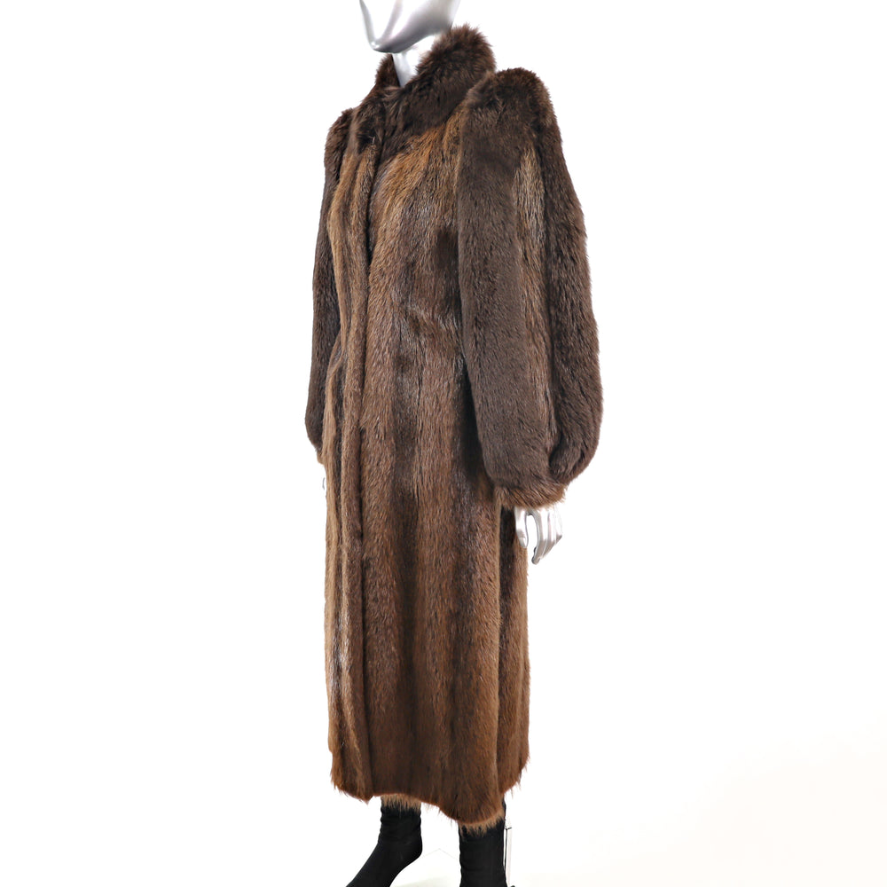 Full Length Beaver Coat with Fox Trim- Size S-M (Vintage Furs)