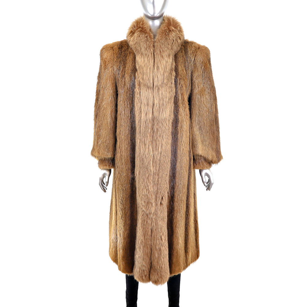 Long Hair Beaver Coat with Fox Tuxedo- Size L (Vintage Furs)