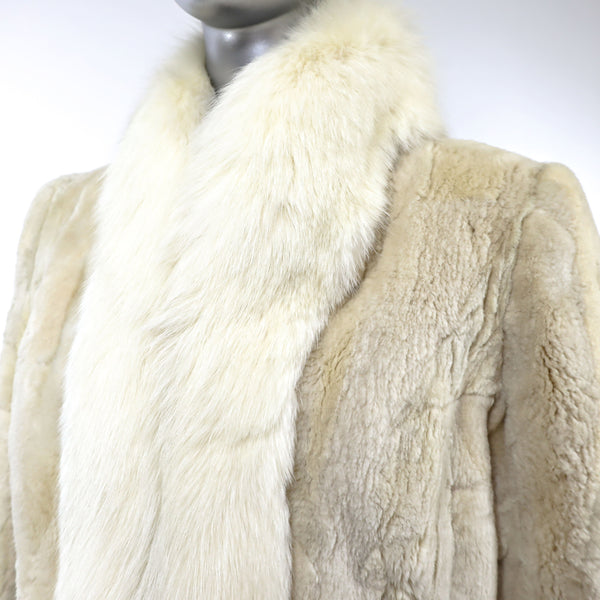 Cream Sheared Beaver Jacket with Fox Tuxedo- Size S (Vintage Furs)