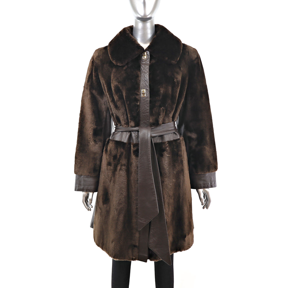 Sheared Beaver Coat with Leather Insert- Size S (Vintage Furs)