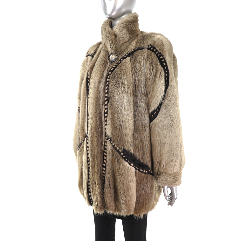 Beaver Jacket with Design- Size M-L (Vintage Furs)